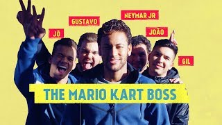 Neymar Jr. challenges his friends to a game of Mario Kart.