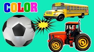 Learn Colors with Soccer Balls for Children, Toddlers - Learn Colors with Bus and Tractor