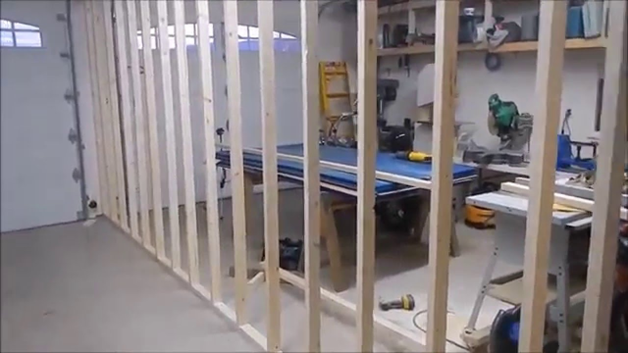 How to build an interior wall in the garage - New Garage Dividing Wall Part 1