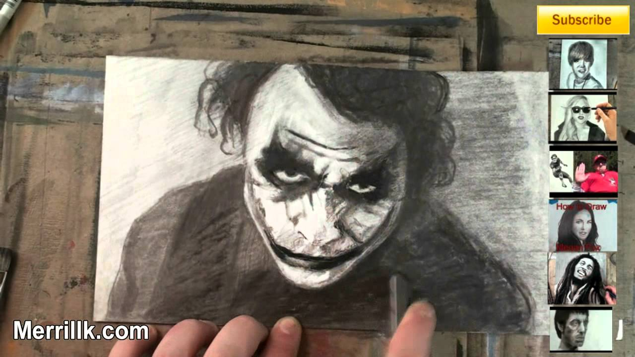 How To Draw Heath Ledger As Joker Step By Step Portrait Drawing Tutorial