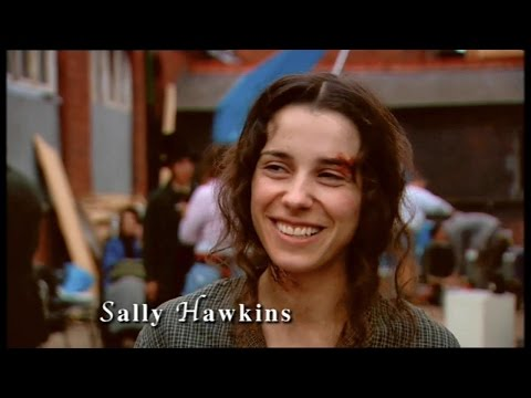 Sally Hawkins in 2004 on the set of Fingersmith 2005