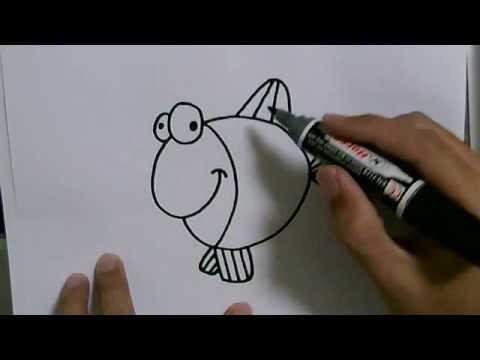 สอนวาดรูปการ์ตูนน่ารักง่ายๆ ปลาทองน้อยน่ารัก How To Draw GoldFish Cartoon