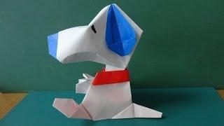 """折り紙「スヌーピー」顔 Origami""""Snoopy""""Face"""