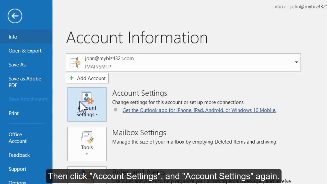 How to change your email password in Outlook 2016
