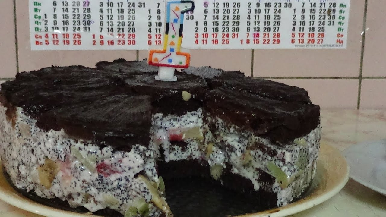 Торт африканская ромашка, вкусный рецепт с фруктами - YouTube
