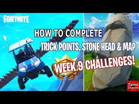 Fortnite: How To Complete WEEK 9 Challenges! Trick Points, Stone Heads, Shifty Map!