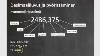 Kurssi 1: Luvut ja laskutoimitukset, osa2: Desimaaliluvut ja pyöristäminen
