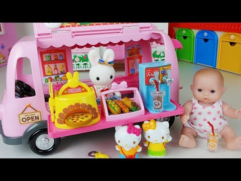 Baby doll food truck car and food cooking shop toys story music play - ToyMong TV 토이몽