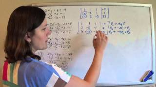 solving 3 equations 3 unknowns method 2 augmented matrix gaussian elimination w back substitution