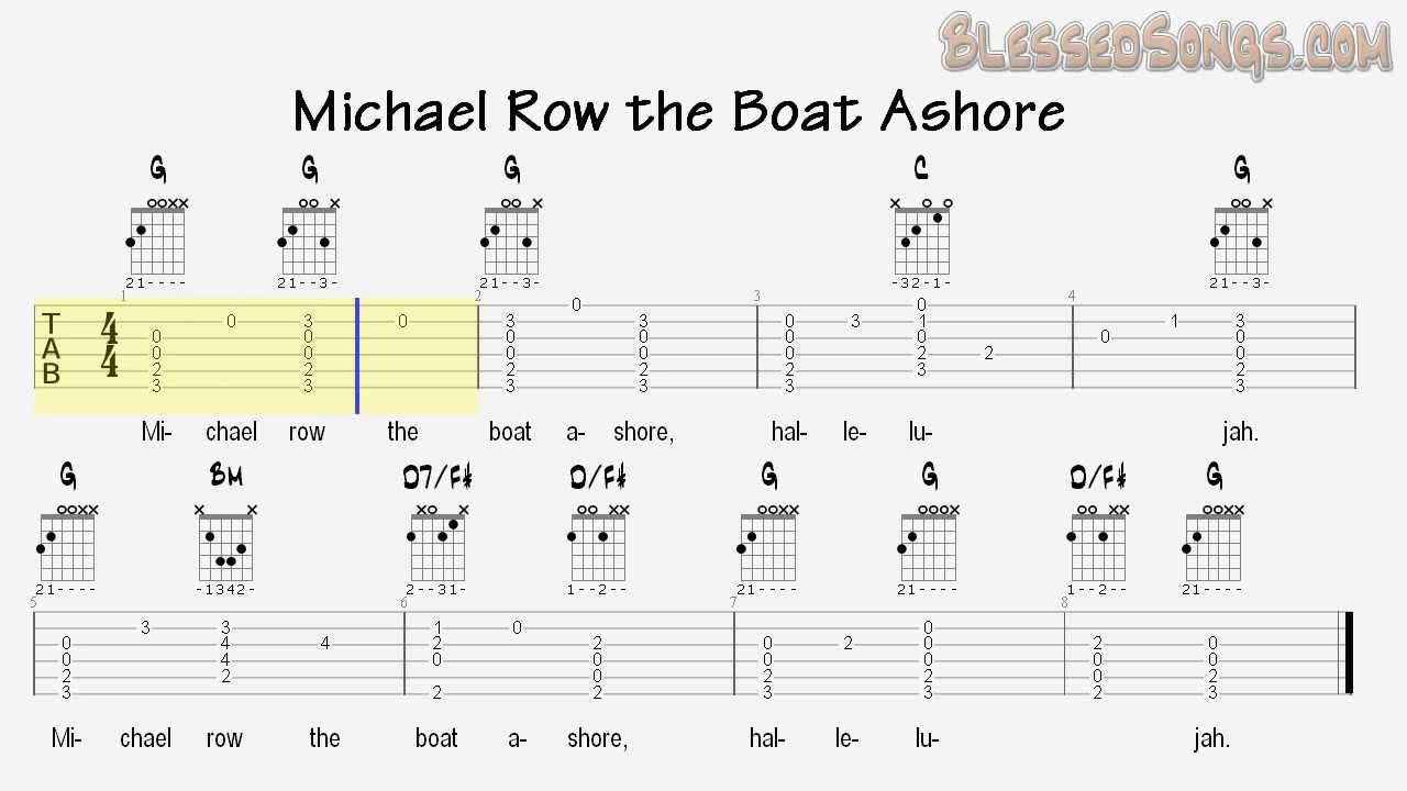 Sunday school songs michael row the boat ashore guitar tabs sunday school songs michael row the boat ashore guitar tabs hexwebz Choice Image