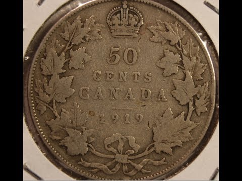 Canada Silver 50 Cents 1919, 1944, 1953, 1960 and 1964