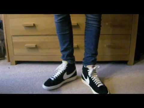 Nike Blazer Hi Suede (Vintage) Black on Feet - YouTube