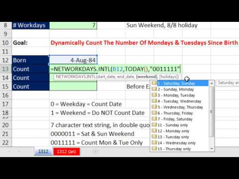 Excel Magic Trick 1312: Count The Number Of Mondays & Tuesdays Since Birth: NETWORKDAYS.INTL
