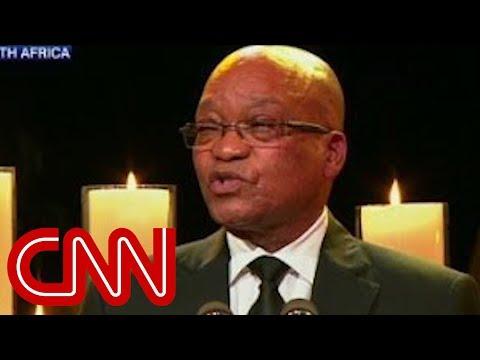 Jacob Zuma sings at Mandela funeral