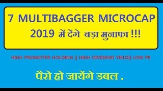 7 Microcap Multibagger Stock for 2019(HINDI)    Low PE     High Dividend Yield