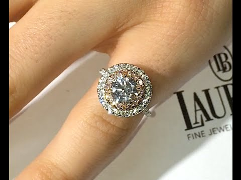 eb236c4fb 1.20 ct Round cut Diamond Engagement Ring in Pink Diamond Double Halo -  YouTube