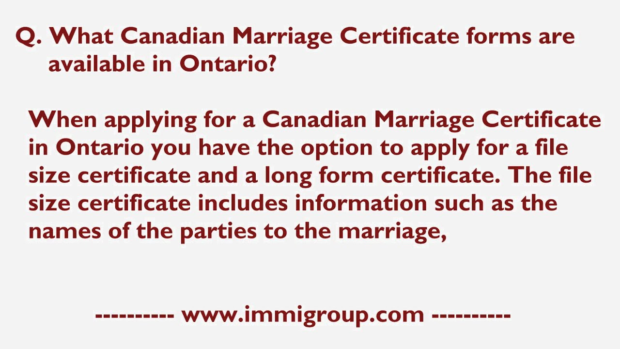 What Canadian Marriage Certificate Forms Are Available In Ontario