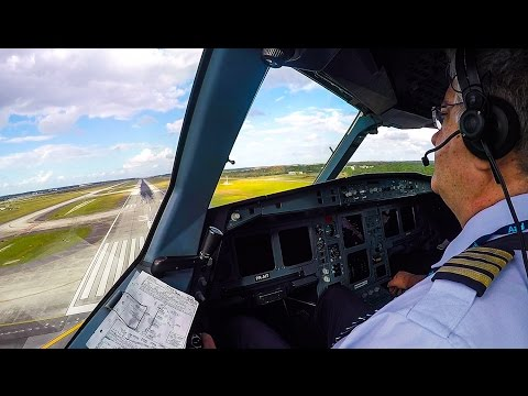 Airbus A330-200 Cockpit Landing at Orlando Airport
