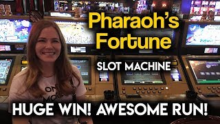 HUGE WIN on Pharaoh's Fortune Slot Machine! AWESOME RUN!