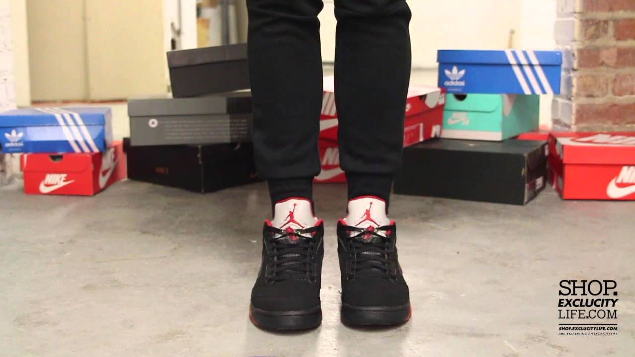 quality design bf686 55cea Air Jordan 5 Low Black Red On feet Video at Exlcucity