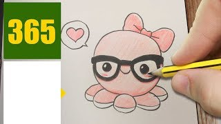 HOW TO DRAW A SQUID CUTE, Easy step by step drawing lessons for kids