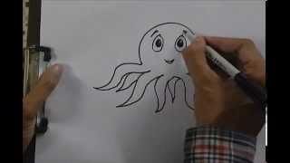 How to draw an Octopus - in easy steps for children, kids, beginners