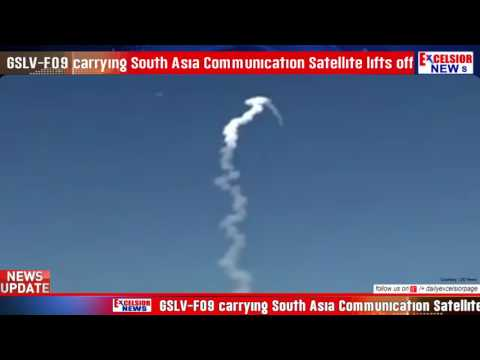 GSLV-F09 carrying South Asia Communication Satellite lifts off