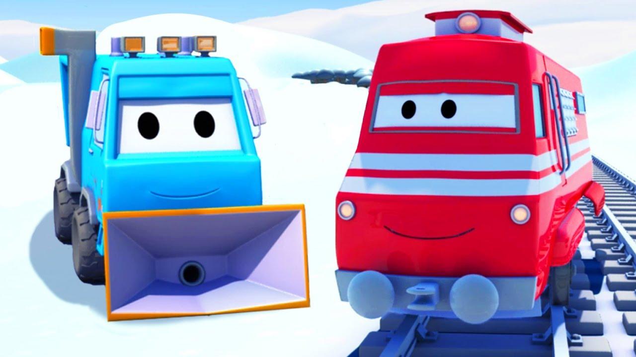 Xe lửa Troy - Xe cào tuyết Sam và Xe tải kéo Tom giải cứu Lily ! - Thành phố xe