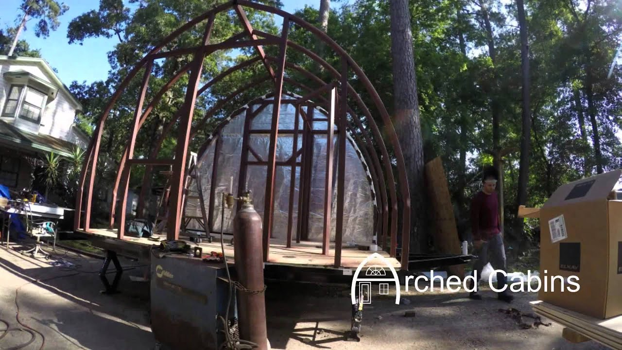 Arched cabins tiny house 12 39 x 8 39 on trailer youtube for Arched cabin floor plans