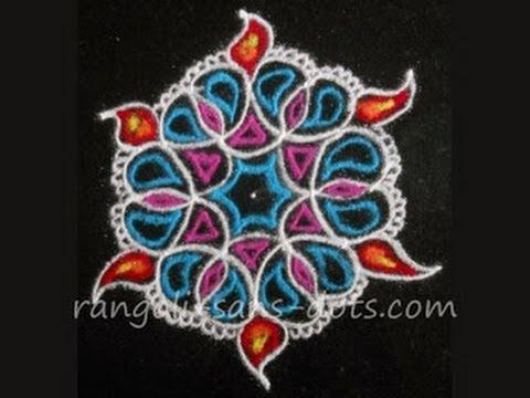 Deepavali kolam 5 dots for Diwali rangoli designs with ...