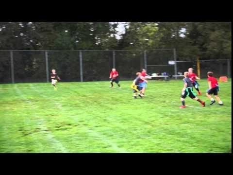 Kellan 9 year old flag football touchdown catch