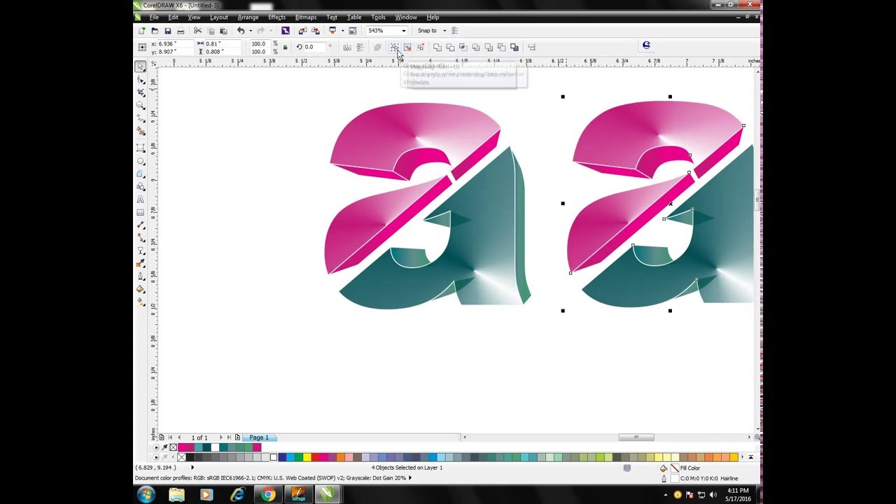 Corel Draw X6 How To Make 3D Logo in Easy Steps
