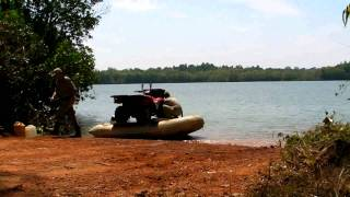 Ferrying Quad Bikes with a Island Inflatable Boat 3.65m Part 1.avi