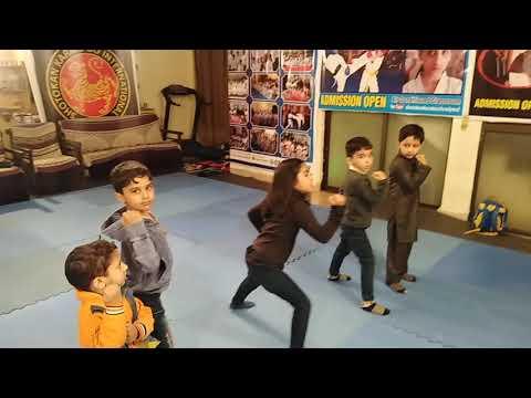 Kids in training karate School pwd