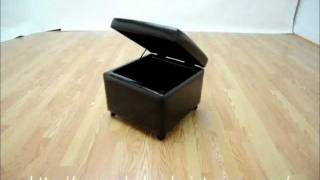 Wholesale Interiors Dark Brown Full Leather Small Storage Cube Ottoman