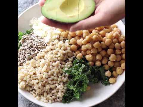 Kale, Barley & Feta Salad with Honey Lemon Vinaigrette