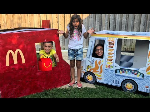 Kids Pretend Play with Cooking Food McDonalds Truck Toy! fun video