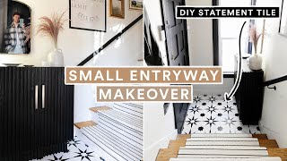 SMALL ENTRYWAY MAKEOVER + DIY Statement Tile & Stair Runner!
