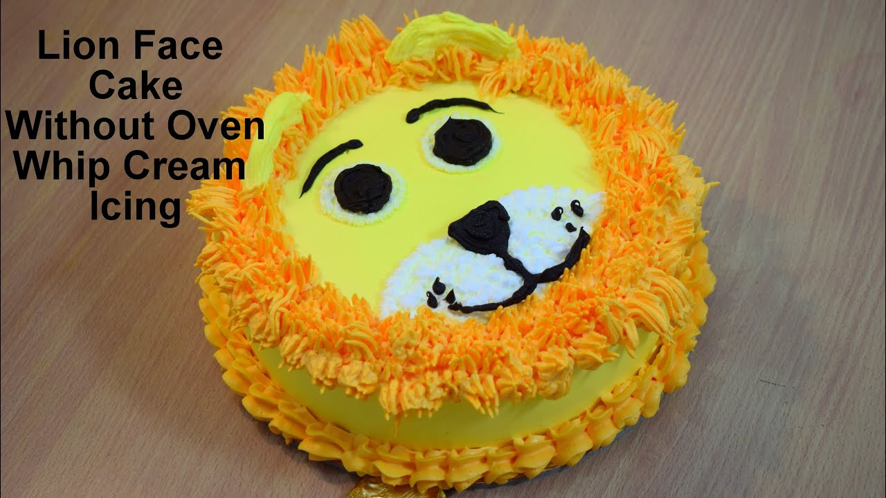 Lion Face Cake Recipe कढ़ाई में बिना ओवन के ये केक No Oven Unique Lion Face Birthday Cake
