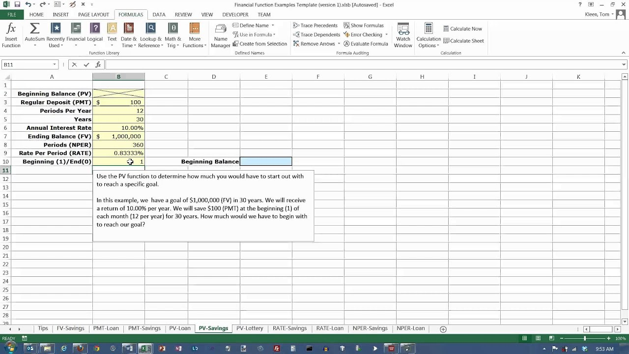 excel 2013 the pv present value function reaching a savings goal