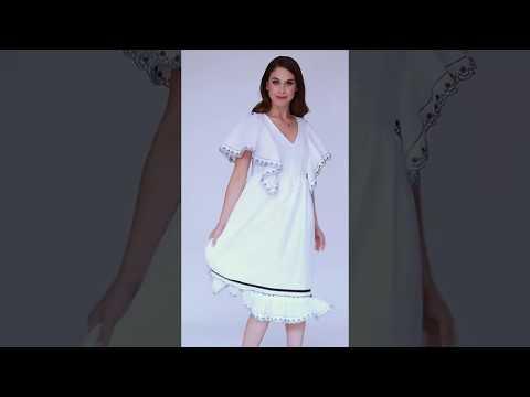 Video: Luźna sukienka midi z ozdobnymi falbanami