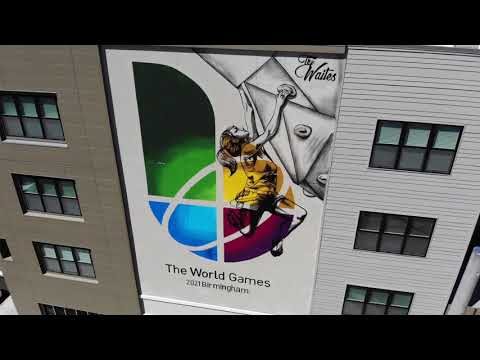 Watch time-lapse video of painting of World Games Birmingham mural