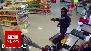 Moment mexican 'cowboy' stopped armed robbery - BBC News