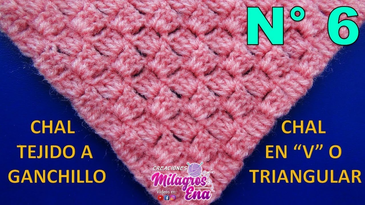 Chal en V tejido a crochet en punto ESCALERA paso a paso FÁCIL DE ...