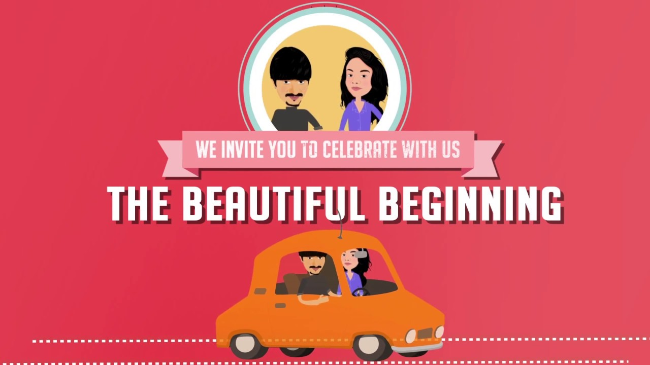 Cartoon Animation Wedding Invitation Video | Love Story, Wedding ...