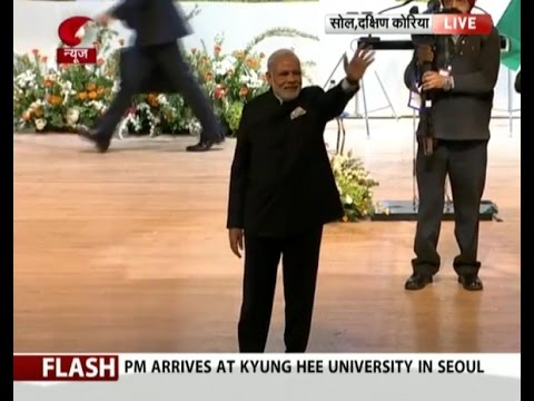 PM Modi arrives at Kyung Hee University in Seoul