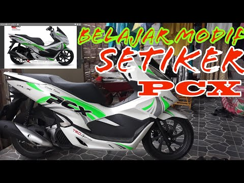Modif striping ringan, honda pcx warna putih