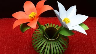DIY | Awesome Paper Flower Making Tutorials with Flower Vase | Reuse Idea