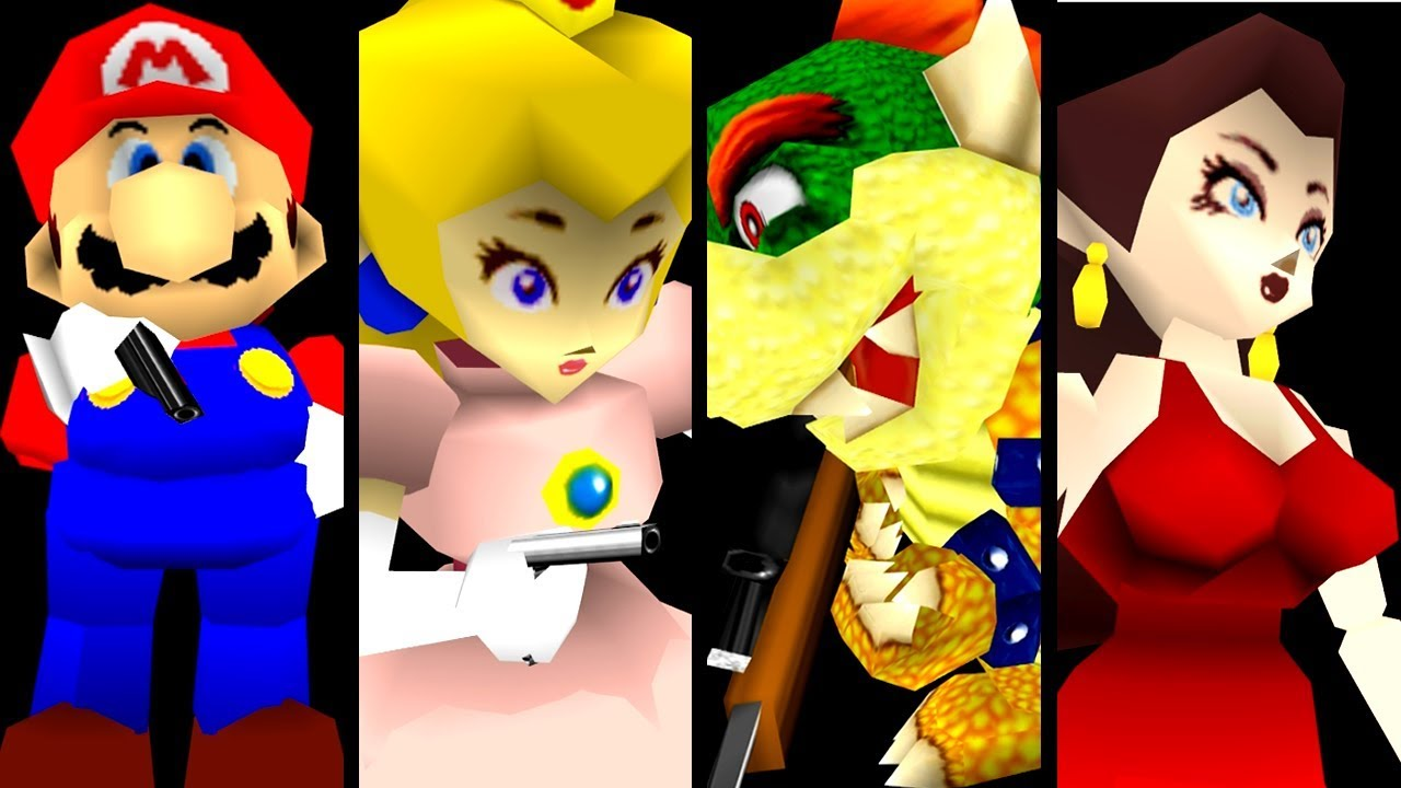 Super Mario ALL BOSSES With Guns Hack (N64)