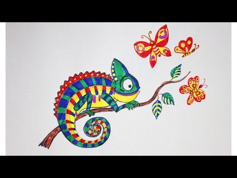 Как нарисовать хамелеона +Идеи для дневника фломастерами -хамелеонами от ArtBerry | Art School